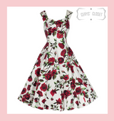 Hearts and Roses London Cream and Red Roses Floral 50s Vintage Inspired Swing Dress with Sweetheart Neckline at Cerys' Closet