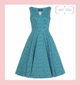 Teal Green and White Polka Dot 50s Vintage Inspired Swing Dress - Savannah