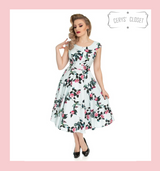 Hearts and Roses London Duck Egg Blue and Pink Floral 50s Inspired Vintage Swing Dress - Isobelle at Cerys' Closet