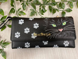 Green Eyed Cat Clutch Bag with Internal Phone Pocket, Detachable Shoulder Chain and Wristlet Strap