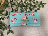 Flamingo Clutch Bag with Internal Phone Pocket, Detachable Shoulder Chain and Wristlet Strap