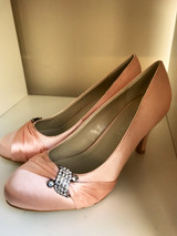 Pretty Champagne and Diamante Court Shoes