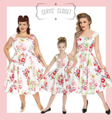Hearts and Roses London Pretty Peony and Bamboo Floral Print 50s Vintage Inspired Swing Dress - Peony at Cerys' Closet