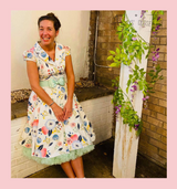 White Blossom 1950s Vintage Style Faux Shirt Tea Dress with Pink and Blue Floral Design - Beatrice
