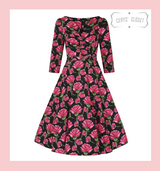 Hearts and Roses London Vibrant Pink Rose 3/4 Sleeve 50s Vintage Inspired Swing Style Dress - Sadie at Cerys' Closet