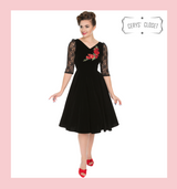 Hearts and Roses London Dress 50s Vintage Inspired Swing Dress Velvet with Lace 3/4 Sleeves and Rose Embroidered Applique Detail - Holly Black