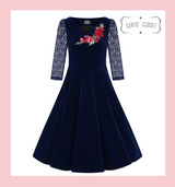 Hearts and Roses London Dress 50s Vintage Inspired Swing Dress Velvet with Lace 3/4 Sleeves and Rose Embroidered Applique Detail - Holly Blue
