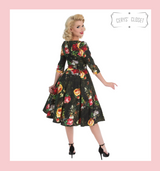 Hearts and roses London Vibrant Yellow and Red Rose 50s Vintage Inspired Dress with 3/4 Sleeves - Alexa at Cerys' Closet