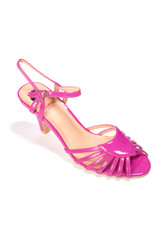 40s and 50s Vintage Inspired Peep Toe Sandals by Banned Dancing Days - Hot Pink