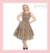 Hearts and Roses London Leopard Print Audrey 50s Vintage Inspired Swing Dress with Belted Waist - Leona at Cerys' Closet