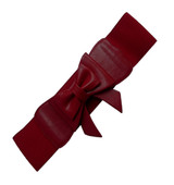 50s Vintage Inspired Faux Leather Elasticated Waspie Bow Belt - Burgundy