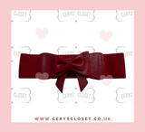 Burgundy 50s Vintage Inspired Faux Leather Elasticated Waspie Bow Belt Banned apparel at Cerys' Closet