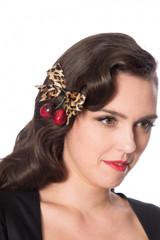 Leopard Print bow and Cherry Hair Clip