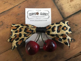 Leopard Print Bow and Cherry Hair Clip
