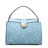 Floral embossed handbag - blue