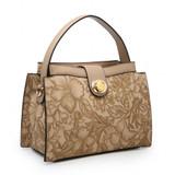 Floral Embossed Handbag - Grey