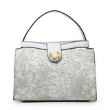 Floral embossed handbag - grey