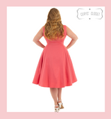 Hearts and Roses London Pretty Pink Sleeveless Faux Button Front 50s Vintage Style Swing Dress - Emmy at Cerys' Closet