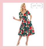 Hearts and Roses London Green Floral 50s Vintage Inspired Swing Dress With 3/4 Sleeves - Adele at Cerys' Closet