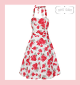 Hearts and Roses London Red Rose Floral Halter Neck 50s Vintage Inspired Sleeveless Swing Dress - Rosemary at Cerys' Closet