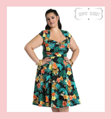 Hell Bunny Tropical Floral and Tiger Print Bali 50s Vintage Inspired Swing Dress