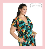 Hell Bunny Tropical Floral and Tiger Print Bali Jumpsuit with Pockets