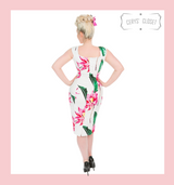 White 50s Vintage Inspired Dress with Large Pink Floral Blooms and Green Leaves Wiggle Dress - Andromeda