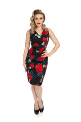 Hearts and Roses Black and Red Rose Wiggle Dress