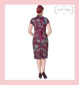 Banned Apparel Purple Peacock Wiggle Dress at Cerys' Closet