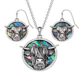 Highland Cow Necklace and Earrings Paua Shell