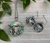 Paua Shell Highland Cow Necklace and Earrings Set