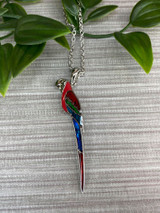 Paua Shell Macaw Perched Parrot Necklace - Red
