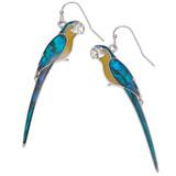 Paua Shell Macaw Parrot Earrings - Blue