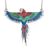 Paua Shell Flying Parrot Necklace Macaw