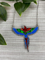 Paua Shell Macaw Parrot Flying Necklace - Red