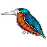 Kingfisher Brooch Paua Shell