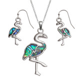 Flamingo Necklace and Earring Set Paua Abalone Shell
