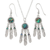 Dreamcatcher Necklace and Earring Set Paua Shell Abalone Shell