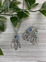 Paua Shell Dream Catcher Necklace and Earrings Set