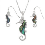 Seahorse Necklace and Earring Set Paua Shell Abalone shell