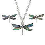 Dragonfly Necklace and Earring Set Paua Shell Abalone Shell