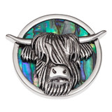 Highland Cow Brooch Paua Shell Abalone Shell