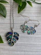 Paua Shell Tropical Cheese Plant Leaf Necklace and Earring Set