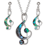 Treble Clef Necklace and Earring Set Paua Shell
