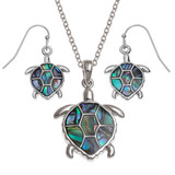 Sea Turtle necklace and earring set paua shell abalone shell