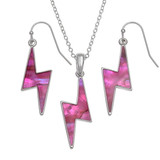 Pink lightning bolt necklace and earring set paua shell abalone shell