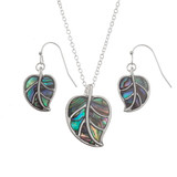 Tropical Leaf Paua shell necklace and earring set