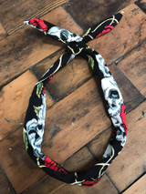 Skull and red rose print wired hairband