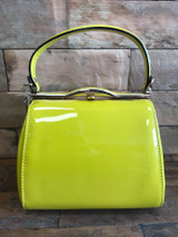 40S AND 50S CLASSIC PINUP ROCKABILLY VINTAGE INSPIRED SHINY PATENT BOX STYLE HANDBAG CHARTREUSSE GREEN - MIDGE