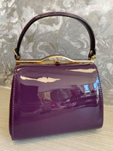 40S AND 50S CLASSIC PINUP ROCKABILLY VINTAGE INSPIRED SHINY PATENT BOX STYLE HANDBAG PURPLE - MIDGE